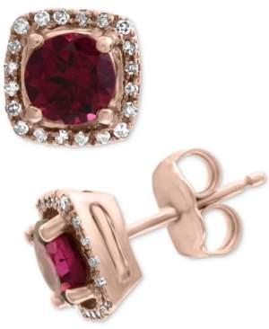 Effy Rhodolite (1-1/5 ct. t.w.) & Diamond (1/8 ct. t.w.) Stud Earrings in 14k Rose Gold