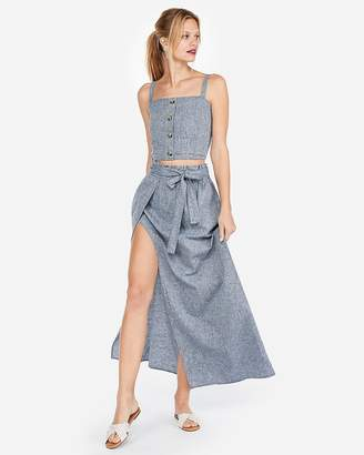 Express Super High Waisted Linen-Blend Surplice Tie Waist Maxi Skirt