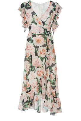 Costarellos Floral-Patterned Wrap-Front Georgette Dress