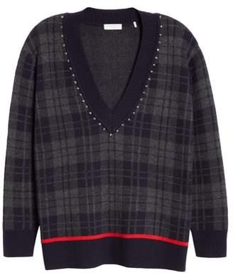 Sandro Embellished Plaid Sweater