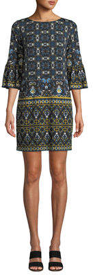 London Times Flounce-Sleeve Printed Shift Dress