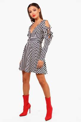 boohoo Striped Ruffle Shoulder Skater Dress