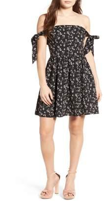 J.o.a. Floral Off-the-Shoulder Tie Dress