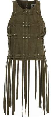 Haute Hippie Fringed Studded Suede Top