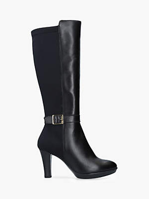 Carvela Comfort Vixen Knee High Stiletto Boots, Black Leather