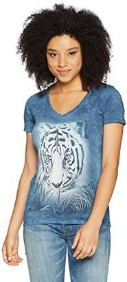 The Mountain Women's Tri-Blend V-Neck Thoughtful White Tiger T-Shirt