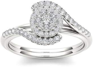 Imperial Diamond Imperial 3/8 Carat T.W. Diamond Bypass Halo Cluster 10kt White Gold Engagement Ring