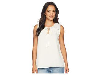 CeCe Sleeveless Tie Front Blouse with Tassel