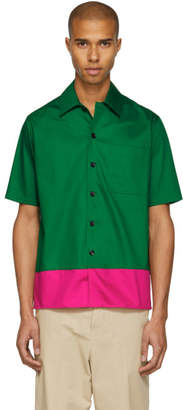 Ami Alexandre Mattiussi Green and Pink Colorblock Shirt