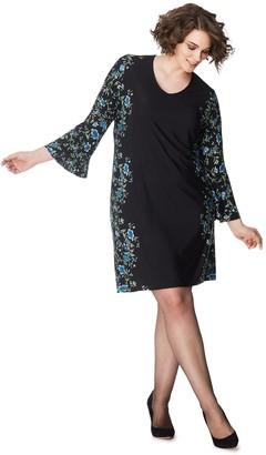 Just My Size Women's Plus Bell-Sleeve Border Print Dress