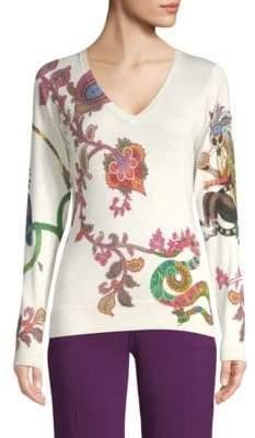 Etro Paisley Lemur V-Neck Sweater