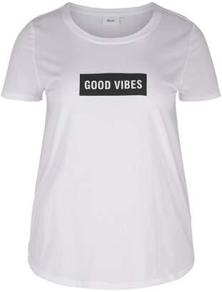 Zizzi Crew Neck Slogan Print T-Shirt