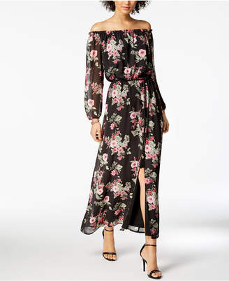 Nine West Floral-Print Off-The-Shoulder Maxi Dress, Created for Macy's