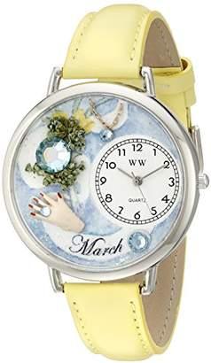 Whimsical Watches Unisex U0910003 Imitation Birthstone: March Yellow Leather Watch