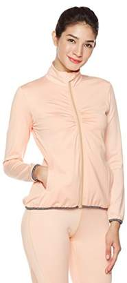 Mint Lilac Women's Zip Up Stretchy Workout Track Jacket with Shirring Peach