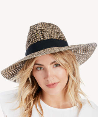 Sole Society Women's Mixed Weave Sun Hat Black Mix One Size Paper Straw Polyester From
