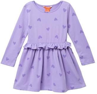 Joe Fresh Heart Print Peplum Dress (Toddler & Little Girls)
