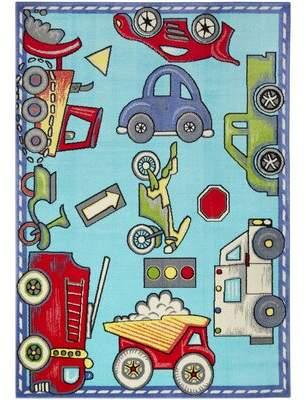 Zoomie Kids Simmons Cars and Trucks Aqua/Red Area Rug Zoomie Kids