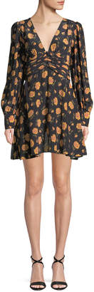 Veronica Beard Marion Long-Sleeve Floral Mini Dress