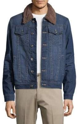 True Religion Faux-Fur Collar Trucker Jacket