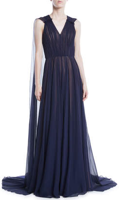 Jason Wu V-Neck Sleeveless Silk Crinkle Chiffon Evening Gown w/ Cape