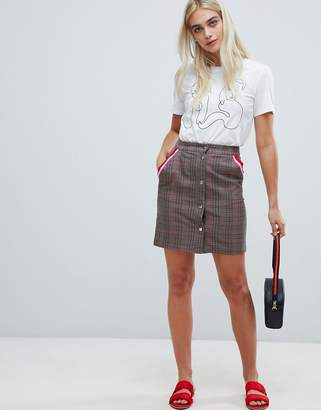 Pieces Check Button Front Skirt