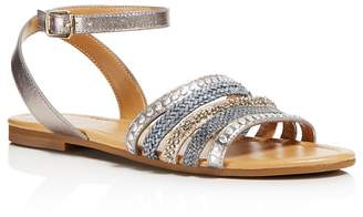 Jack Rogers Women's Hannah Embellished Leather Ankle Strap Sandals