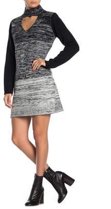 Papillon Ombre Choker Neck Sweater Dress