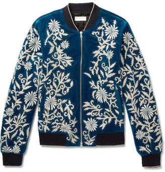 Dries Van Noten Embellished Embroidered Cotton-Velvet Bomber Jacket