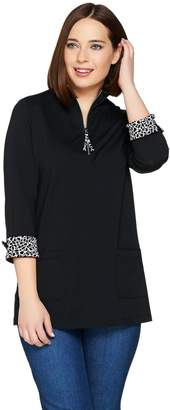 Susan Graver Weekend Stretch Cotton Modal Half Zip Tunic