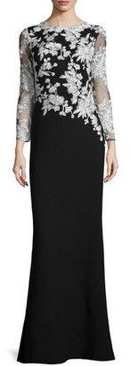 Tadashi Shoji Long-Sleeve Lace-Embellished Combo Gown $508 thestylecure.com