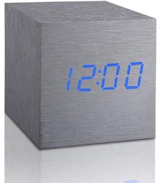 GINGKO Cube Click Clock - Aluminum/Blue LED