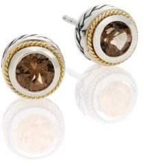 Effy Smoky Quartz, Sterling Silver & 18K Yellow Gold Button Earrings