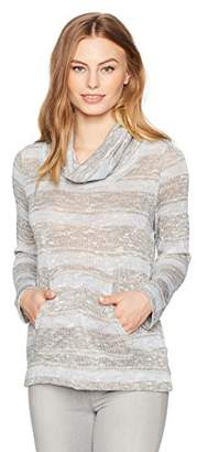 Ruby Rd. Women's Petite Cowl-Neck Metallic Stripe Jersey Pullover with Pouch Pockets, Blush Combo with Gold XL