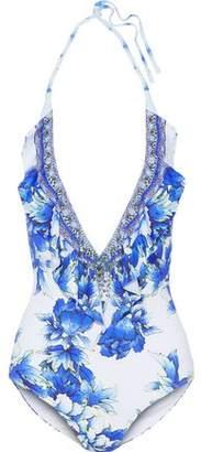 Camilla Ruffle-Trimmed Crystal-Embellished Printed Halterneck Swimsuit