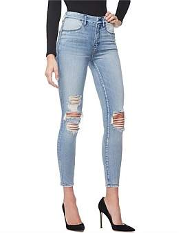 Good American Good Waist' Crop Piecing Super High Rise Skinny Jean