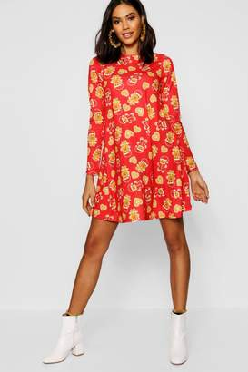 boohoo Christmas Gingerbread All Over Swing Dress