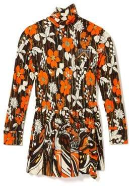 Prada Floral Turtleneck Pleat Shift Dress