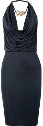 Haney - Portia Draped Embellished Satin-jersey Dress - Navy