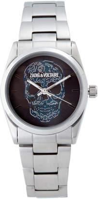 Zadig & Voltaire ZV029 Silver-Tone & Blue Skull Watch