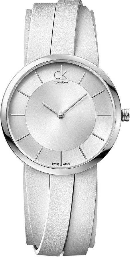 CK Calvin Klein Watch, Women's Swiss Extent Large White Leather Strap 32mm K2R2L1K6