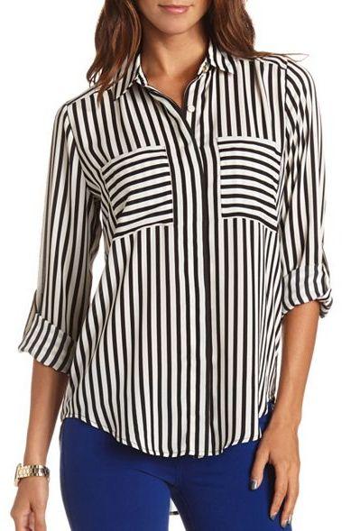 Charlotte Russe Woven Striped Button-Down Tunic