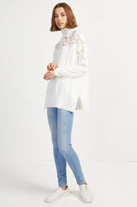 French Connenction Nadia Lace Knit High Neck Jumper