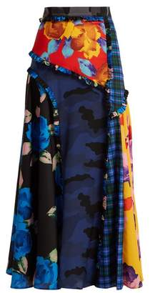 MSGM Panelled Printed Crepe De Chine Midi Skirt - Womens - Black Multi