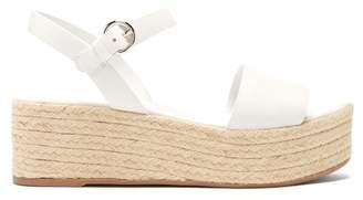 Prada Espadrille Leather Flatform Sandals - Womens - White