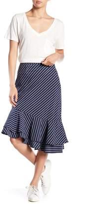 Joie Yenene Striped Asymmetrical Hem Skirt