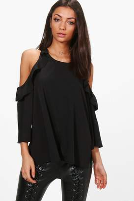 boohoo Tall Woven Cold Shoulder Top