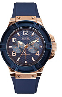 GUESS Blue/Rose Goldtone Standout Casual Sport Watch