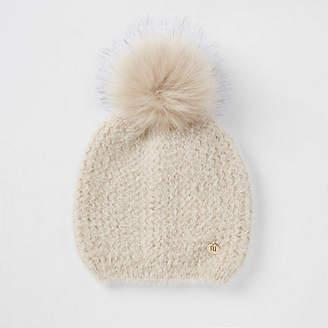 41c81b80882 River Island Womens Beige faux fur pom pom beanie hat