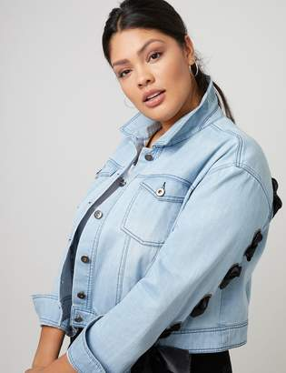Fast Lane Denim Jacket with Lace-Up Back & Sleeves